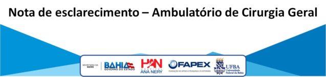 Nota de esclarecimento – Ambulatório de Cirurgia Geral